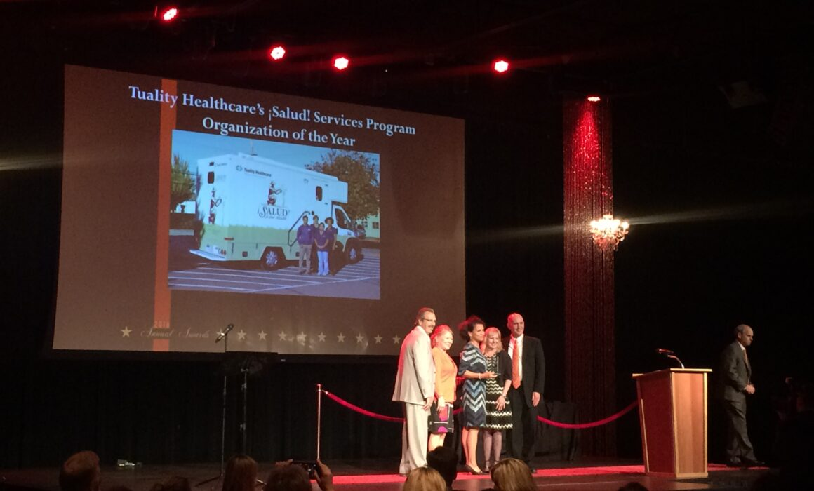 Recipients of Tuality Healthcare's ¡Salud! Services Program Organization of the Year gathered on stage for award