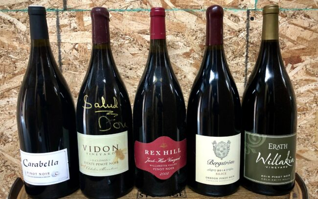 Magnums of wine from Carabella, Vidon Vineyards, REXHILL, Bergrström, and Erath