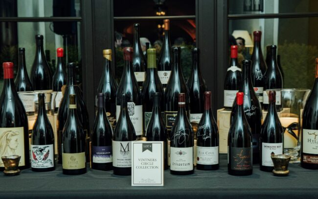 Bottles of wine gathered together and displayed as Lot 9 Vintners Circle Collection