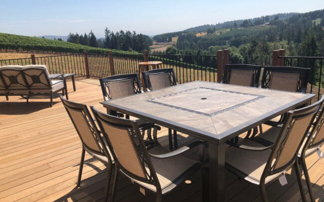Sunny deck with table and chairs
